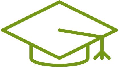 A graphic depicting a graduation cap.