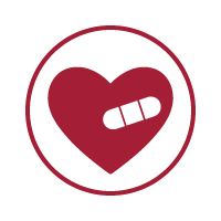 A graphic of a heart with a bandaid on it.