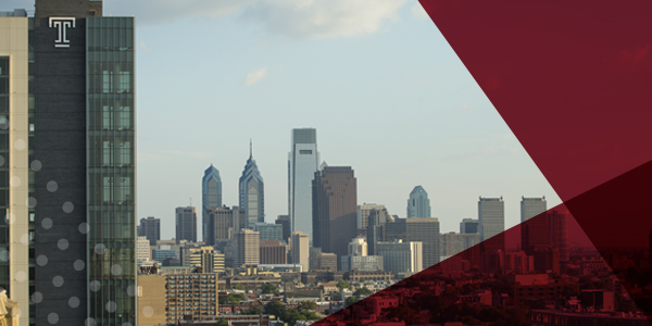 The view of the Philadelphia skyline from Temple's Main Campus.