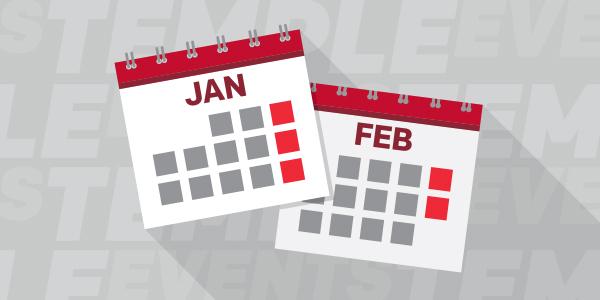Illustration of January and February calendars.