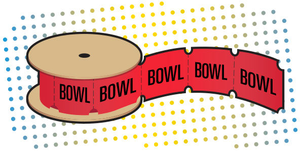 """An illustration of a ticket roll with """"bowl"""" stamped on each ticket."""