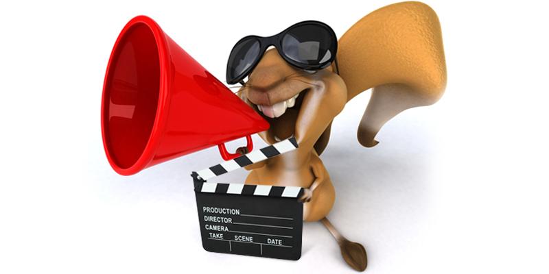 A squirrel in sunglasses holding a megaphone