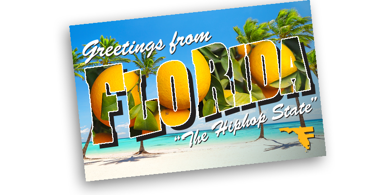 "A post card reading, ""Greetings from Flo Rida."""
