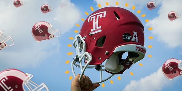 A large Temple football helmet and smaller helmets in the sky.