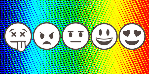 Emojis conveying emotions from angry to happy.