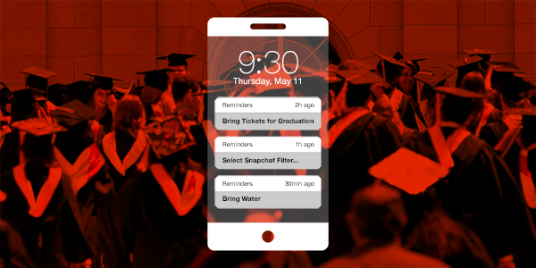 An illustration of an iPhone with reminders in front of a graduation photo.