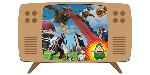 An illustration of a TV with Owls attacking a leprechaun on the screen.