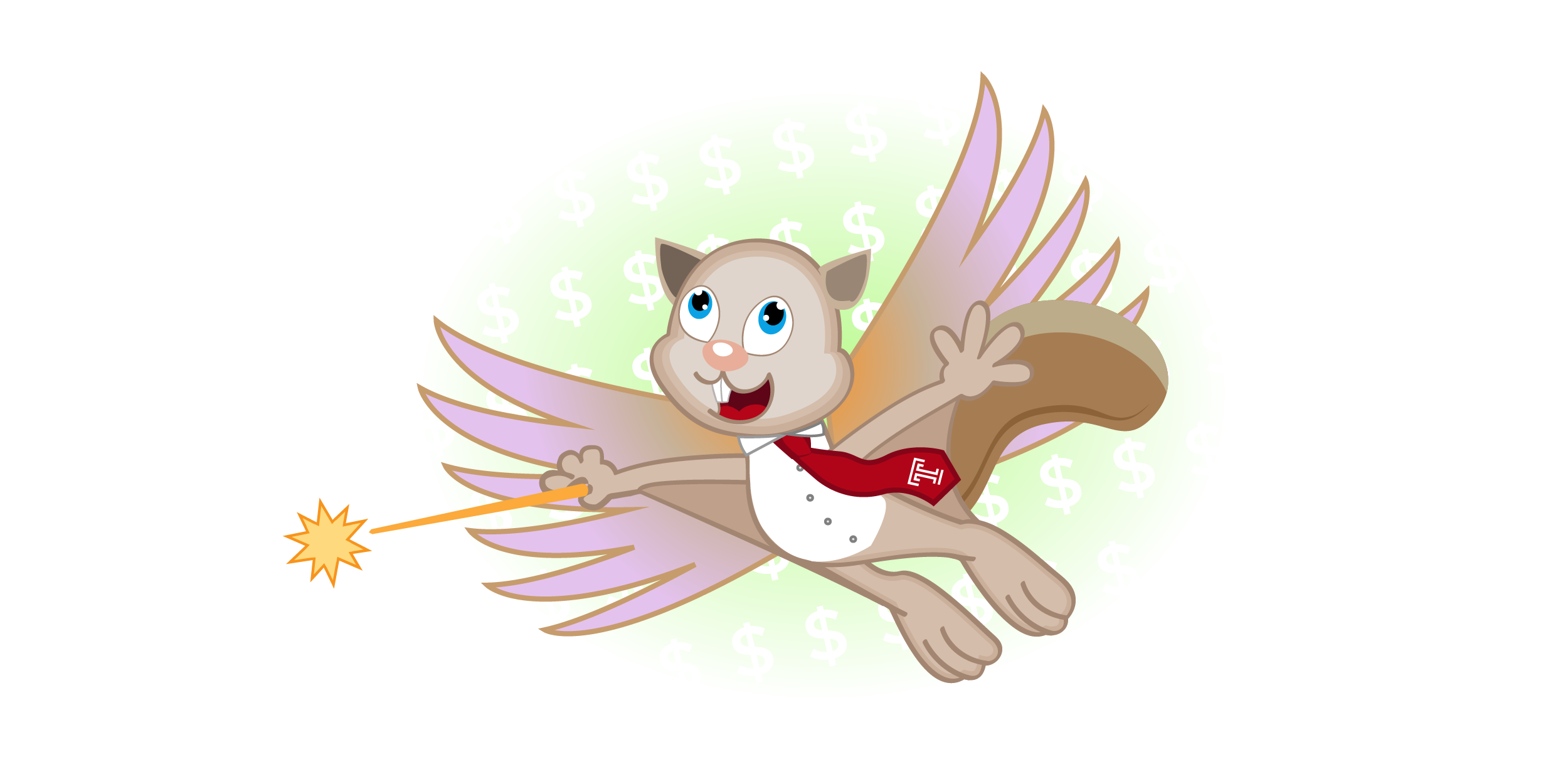 An illustration of a squirrel fairy wearing a tie with money signs in the background.