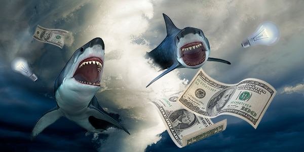 Sharks emerging from a tornado and chasing money.