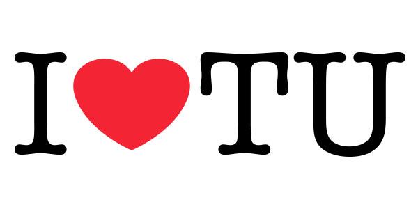 "An illustration reading ""I love TU."""