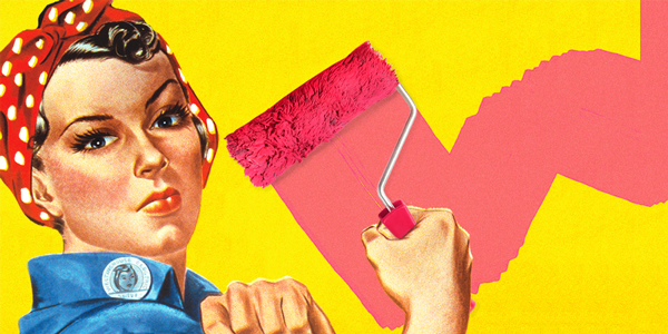 An illustration of the famed Rosie the Riveter, using a paint roller.