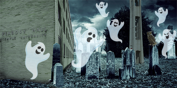 Ghosts floating above a graveyard next to Peabody Hall and the Bell Tower.
