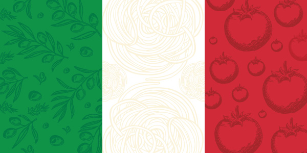 An Italian flag illustration made from basil, spaghetti and tomatoes.
