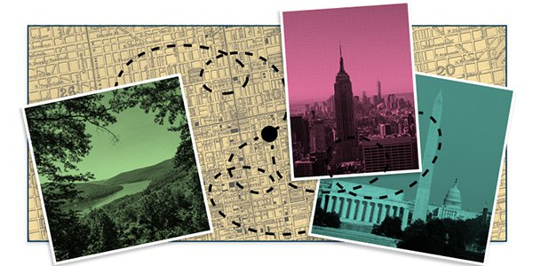 A map with photos of the Empire State Building, Washington Monument and nature.