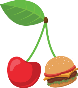 An illustration of a cherry stem connected to a cherry and a hamburger.