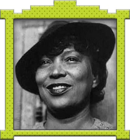 A framed photo of Zora Neale Hurston.