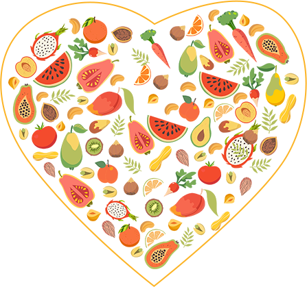 Drawing of fruit with a heart around it