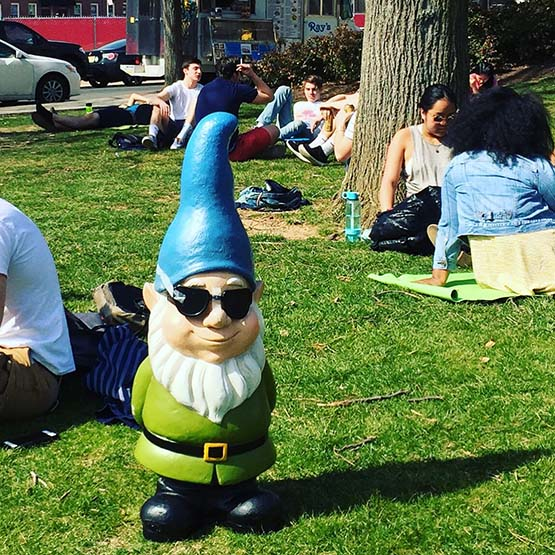 Instagram picture: a gnome on Beury Beach