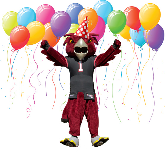 Hooter the Owl (Temple's mascot) with balloons.