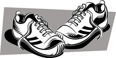 A black-and-white illustration of running shoes.
