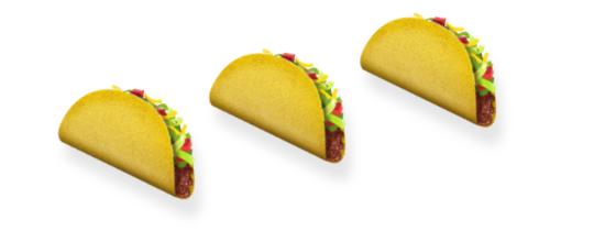 Three taco emojis