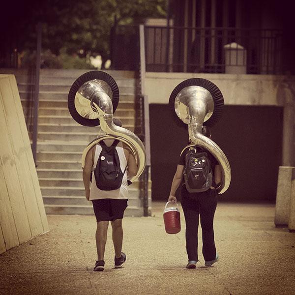 Two Temple Tuba players.