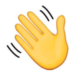 An emoji of a waving hand.