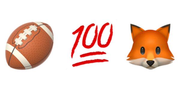 Emoji symbols of a football, 100 symbol, and a fox.