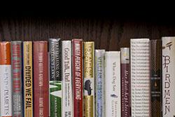 Books on a bookshelf in Samuel Paley Library.