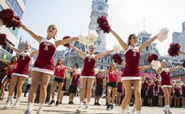 Temple cheerleaders at Philadelphia City Hall.