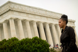 Jamira Burley in front of the Lincoln Memorial in Washington, D.C.