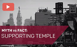 City Hall from North Broad Street and text that says myth vs. fact: supporting Temple.