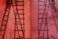 A piece of artwork on red material that shows two ladders and people climbing them.