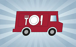 An illustration of a red food truck with a plate, fork and knife on it.