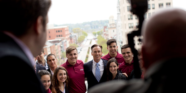 A group of students having their photo taken in Harrisburg, Pennsylvania.