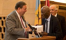Charles L. Blockson accepting the Philadelphia Award.