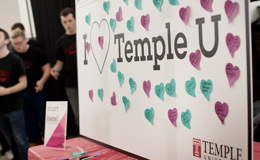 "A board with hearts that reads ""I love Temple U"""