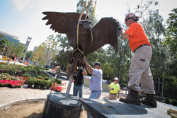 Workers installing the new Owl statue at Founder's Garden