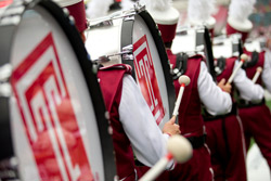 The drumline in Temple's Diamond Marching Band
