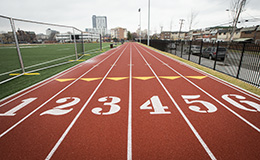 Numbers one through six on the track surface at Temple Sport Complex.