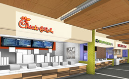 A rendering of the renovated food court.