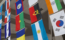 Several flags from various countries hanging from a ceiling.