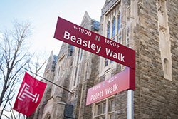 Street sign on Temple's main campus.