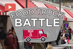 "The food wall on Temple's campus and a graphic that reads ""food truck battle""."