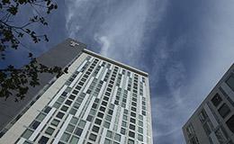 An upward look at Morgan Hall on Temple's Main Campus.