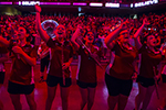 Members of the marching band cheering at Convocation.