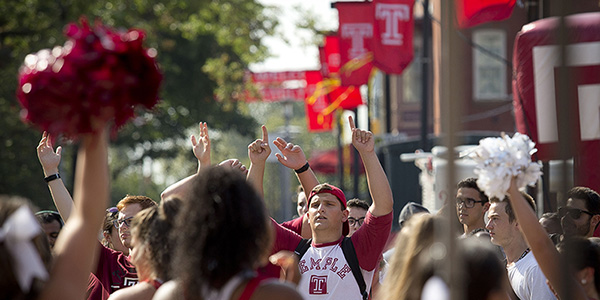 Students gathering on campus for a pep rally.