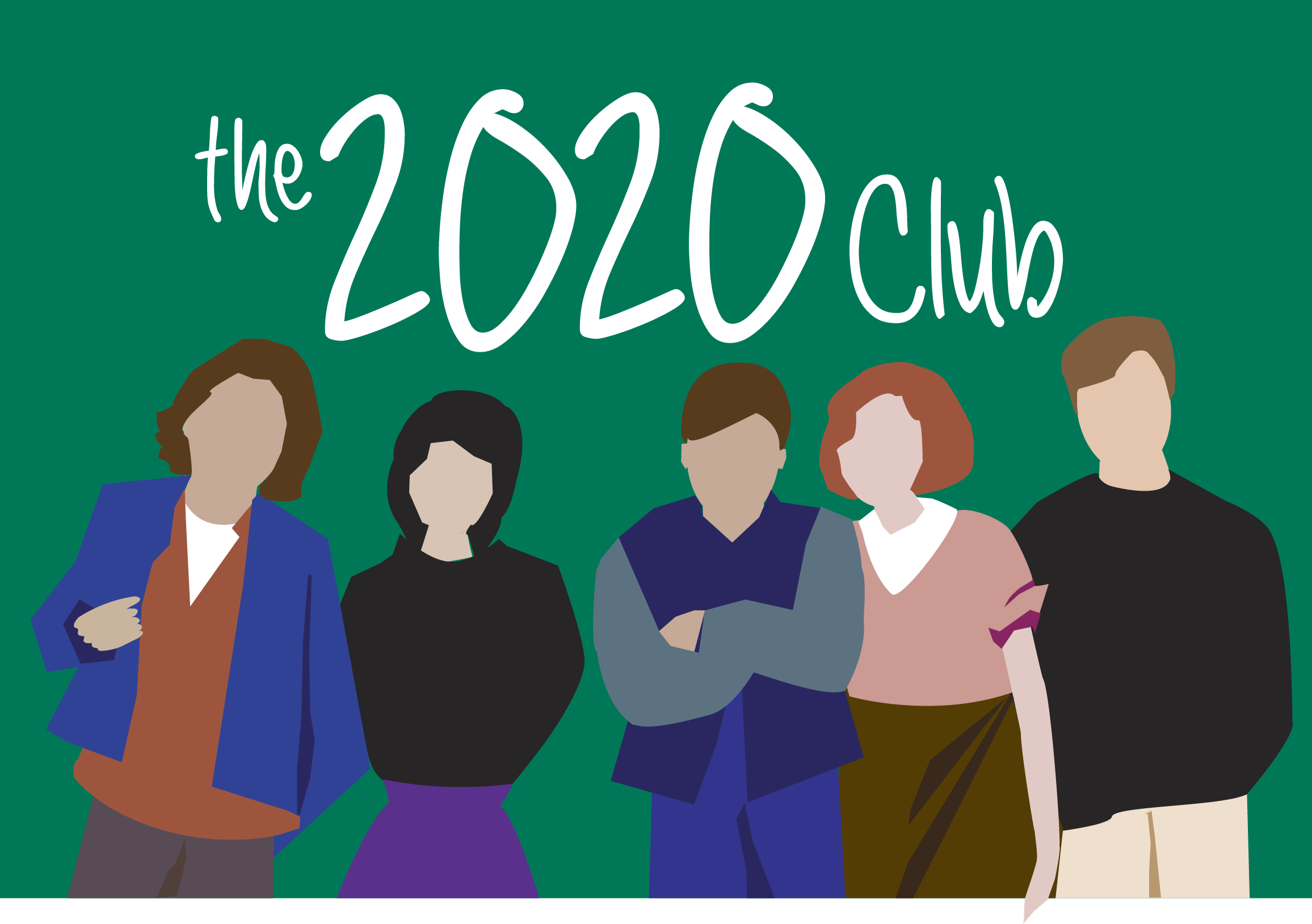 "Illustration of students in front of chalkboard reading ""The 2020 Club."""