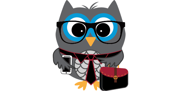 An illustration of an owl wearing a tie and holding a briefcase.