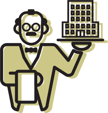 An illustration of a butler holding a miniature residence hall in one hand.